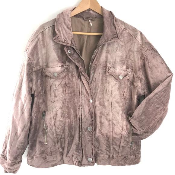 Free People Jackets & Blazers - Free People Crushed Velvet Trucker Jacket Rose M/L